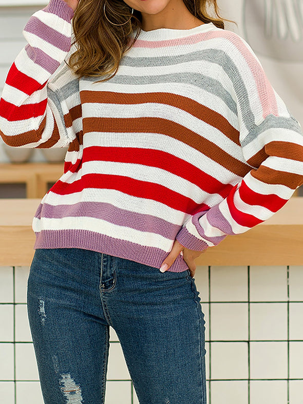 Striped Cotton Long Sleeve Casual Knitwear