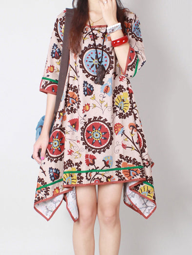 Multicolor Cotton Half Sleeve Abstract Dress
