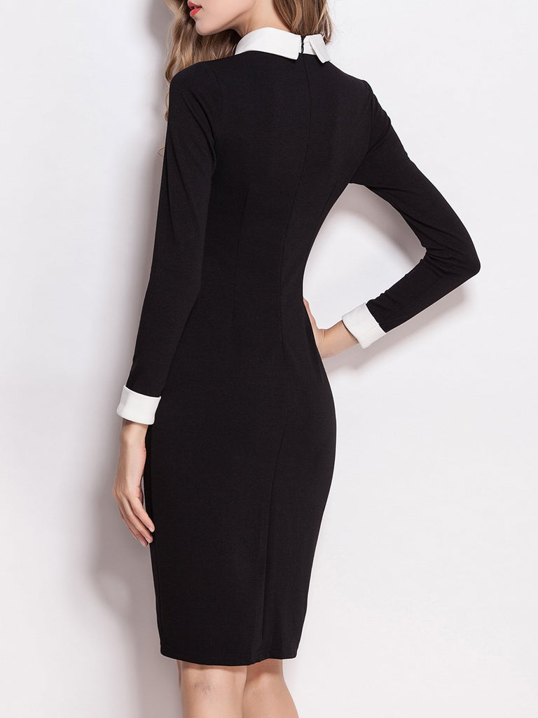 Black Shirt Collar Long Sleeve Plain Dress