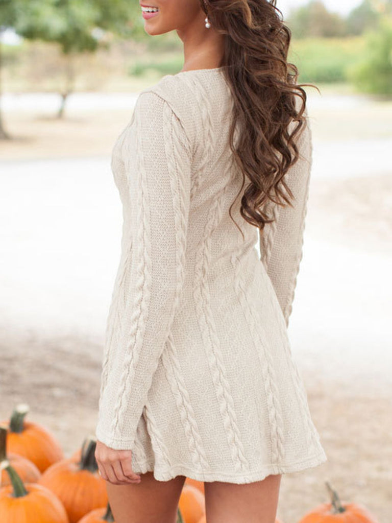 Knitted Long Sleeve Scoop Neckline Sweater