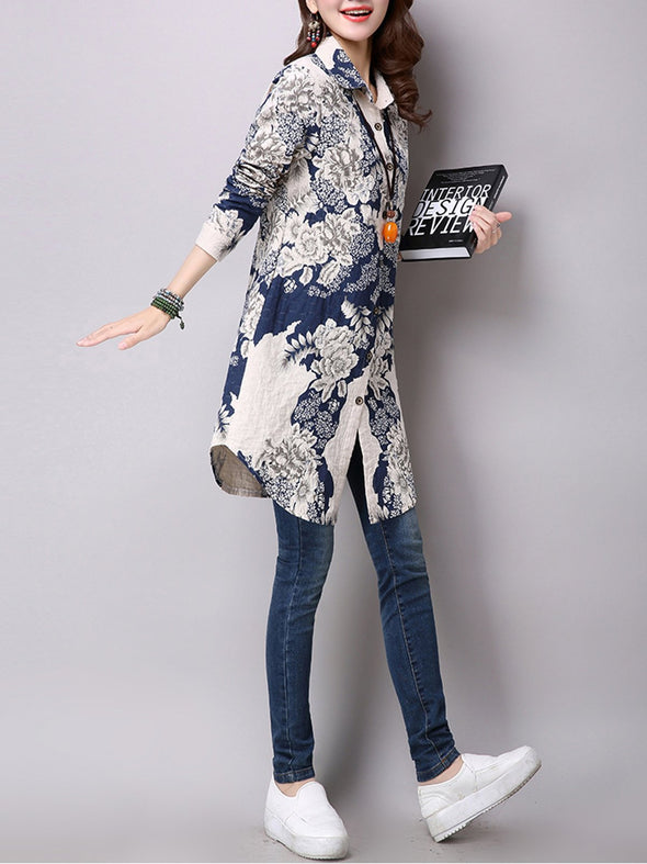 Blue Shirt Collar Shift Buttoned Casual Coat