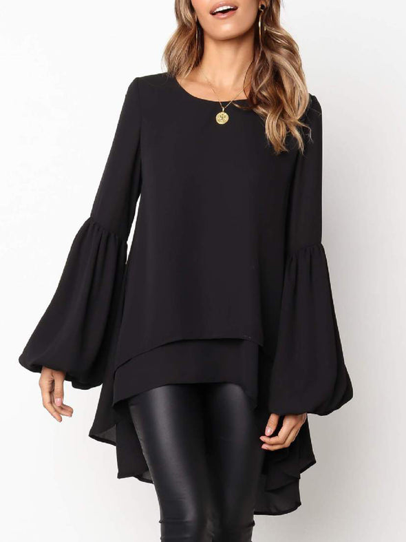 Solid Sweet Frill Sleeve Crew Neck Tops