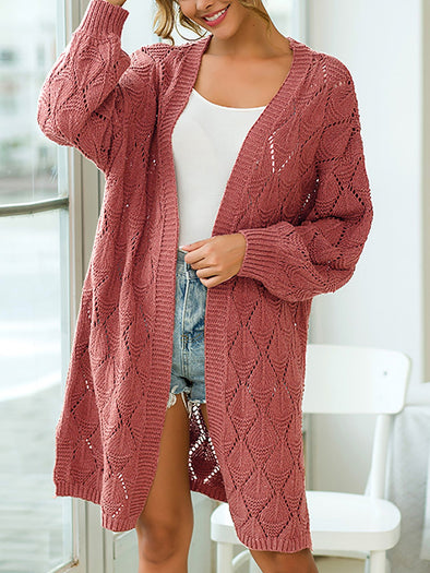 Long Sleeve Solid Casual Knitwear