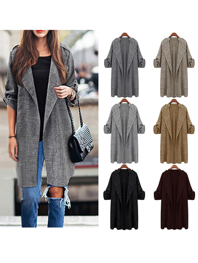 Solid Solid Color Jersy Lapel Casual Coat