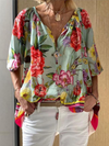 Half Sleeve Cotton Floral Casual Tops