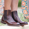 Women's Round Toe Tan Low Heel Vintage Boots
