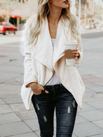 Cotton Solid Casual Long Sleeve Coat
