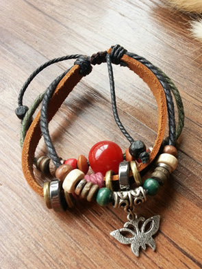 Vintage Beads Artificial Leather Bracelet