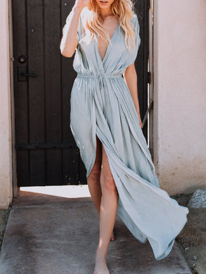 Deep V-Neck Summer Slit Maxi Dresses