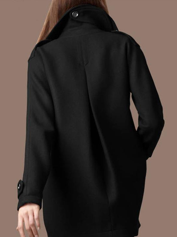 Lapel Plain Long Sleeve Casual Outerwear