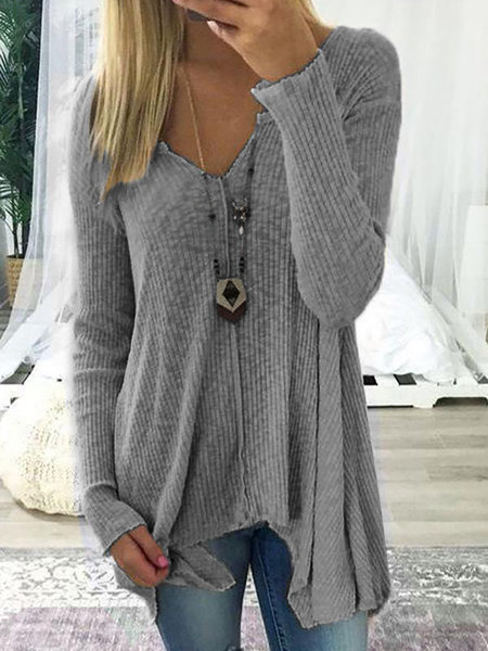 Cotton V Neck Casual Knitwear