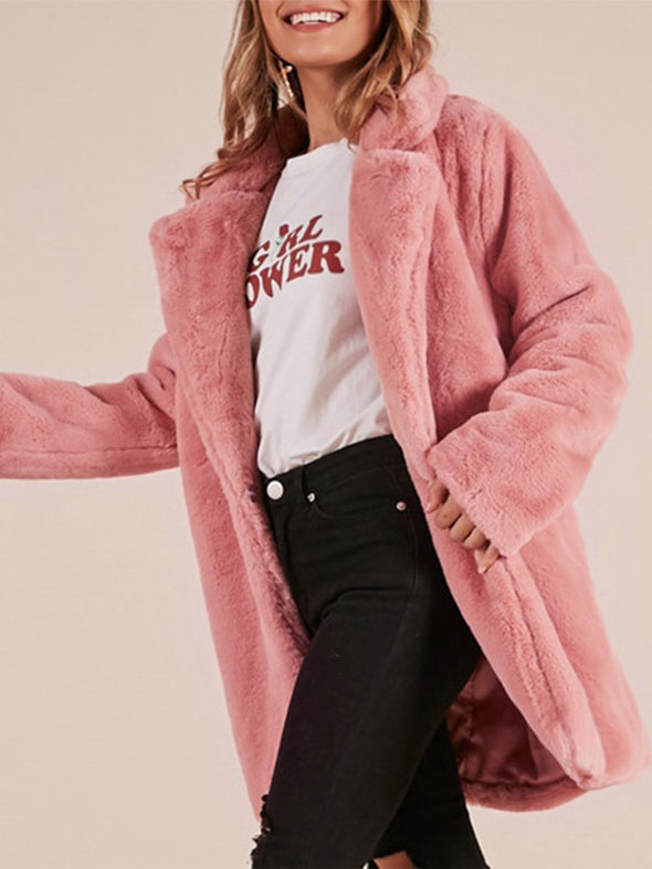 Plain Faux Fur Long Sleeve Outerwear