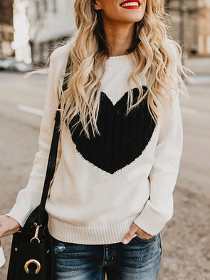 Crew Neck Long Sleeve Shift Knitwear