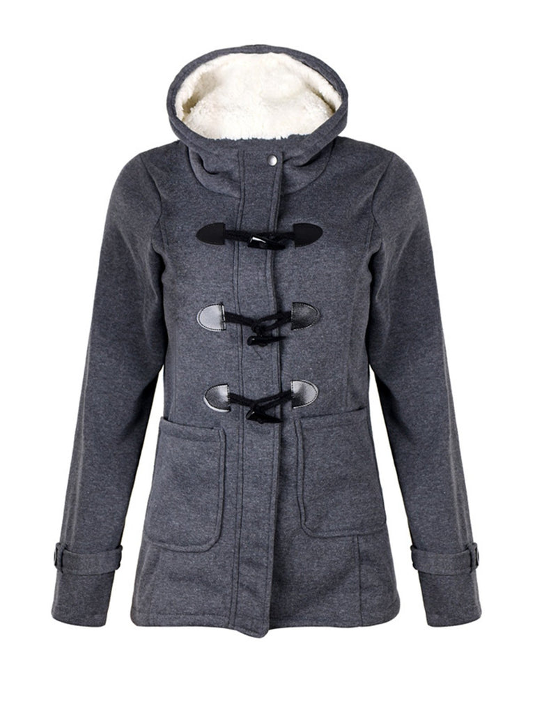 Casual Long Sleeve Buttoned Pockets Coat