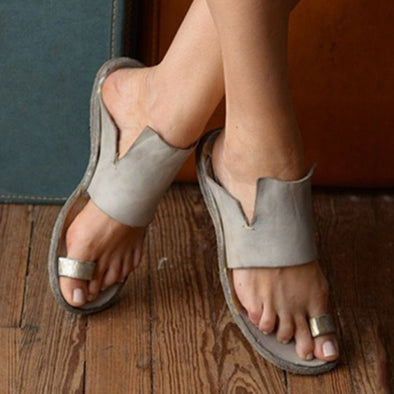 Gray Summer Flat Heel Leather Casual Shoes