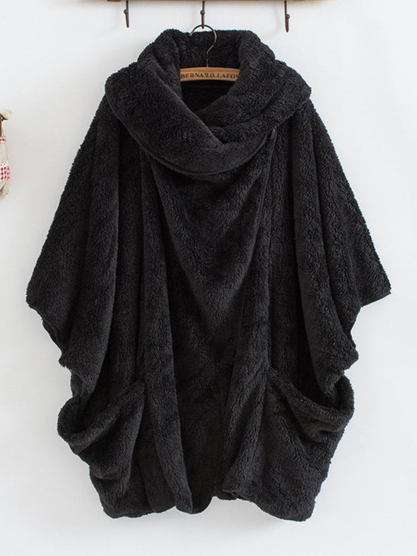 Solid Turtleneck Batwing Coat