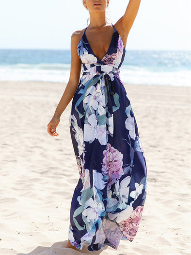 Navy Blue Spaghetti-Strap Floral Dress