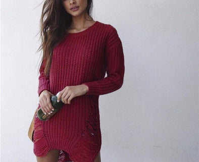 Sweet Solid Cotton-Blend Long Sleeve Dress