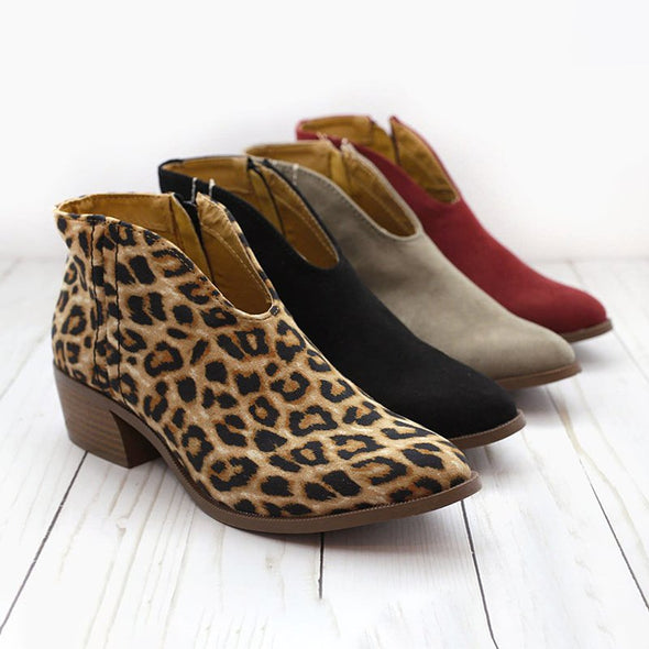 Women's Boots Leopard Chunky Heel Zipper Round Toe Casual Boots