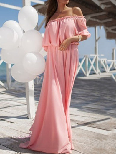 Solid Resort Chiffon Swing Dress