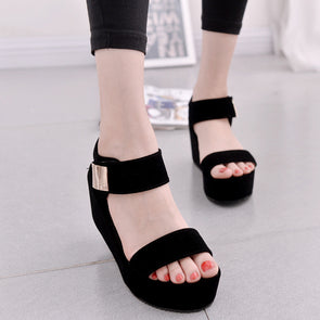 Magic Tape Platform Shoes Women Slip-on Sandals