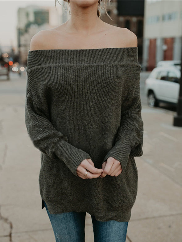 Off Shoulder Solid Sexy Cotton-Blend Knitwear