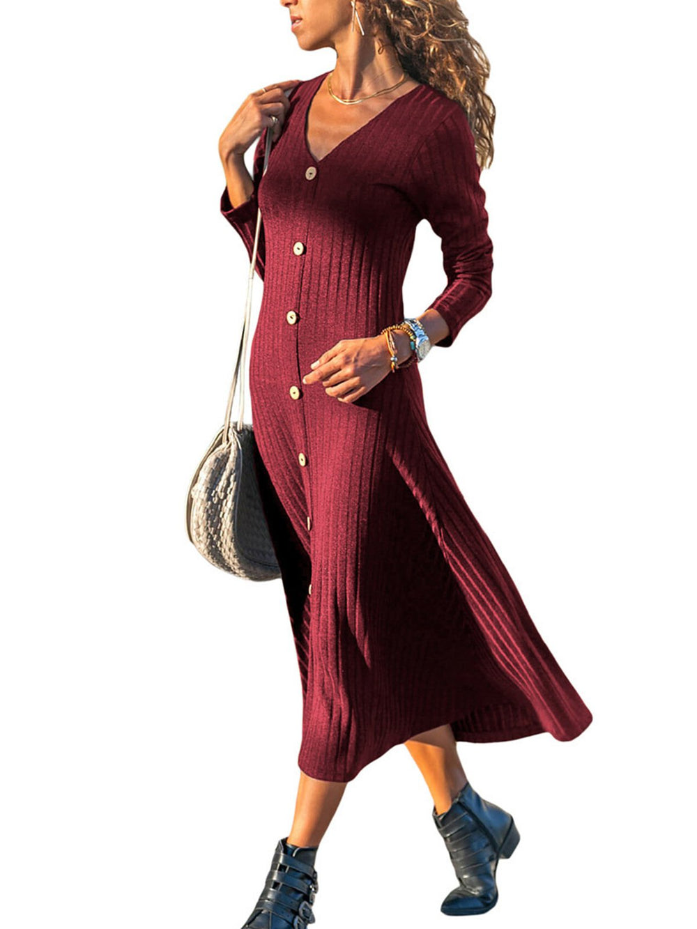 Casual Long Sleeve Knitted Dress