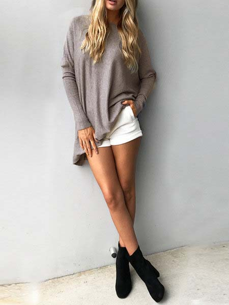 Casual Solid Batwing T-Shirt