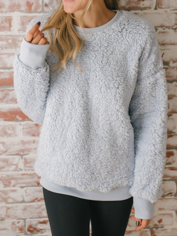 Long Sleeve Solid Sweet Tops