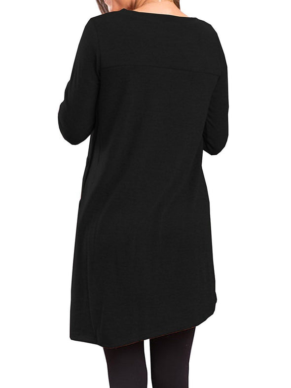 Buttoned Crew Neck Shift Casual Dress