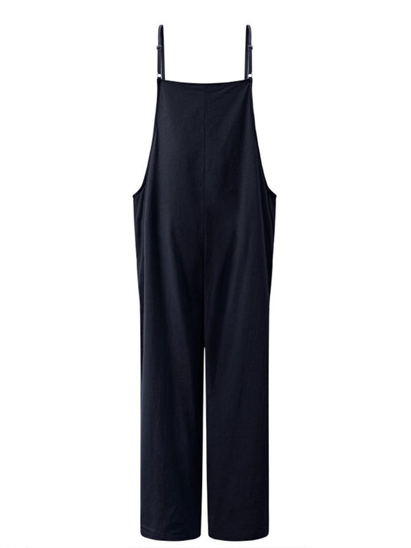 Casual Cotton Pockets Spaghetti-Strap Pants