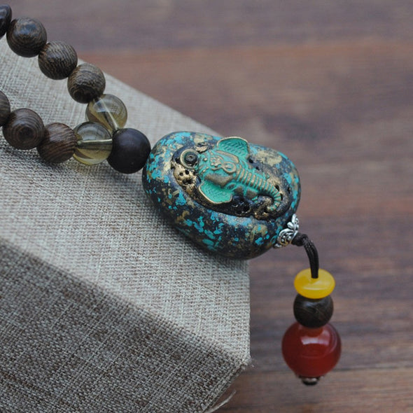 Vintage Wooden Beads Linen Clothing Necklaces