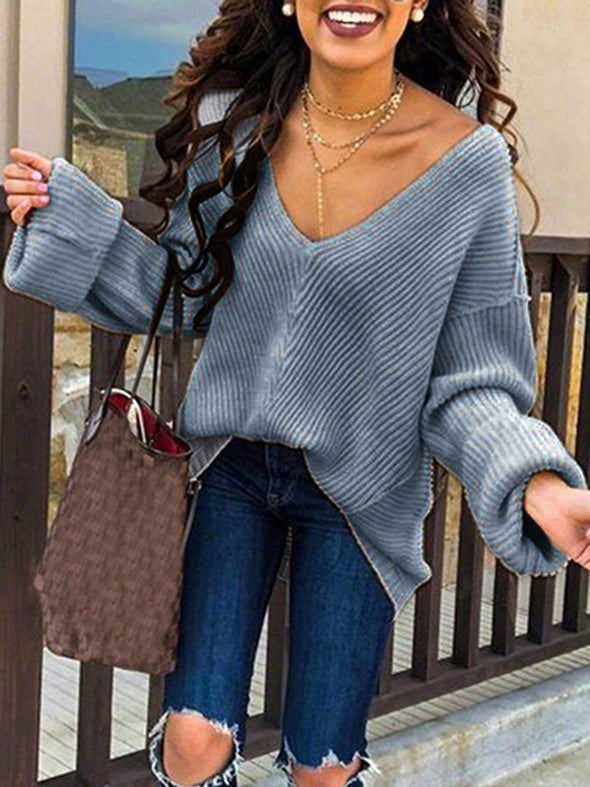 Solid Long Sleeve Sweet Sweater