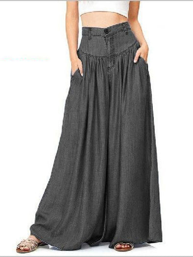 Gathered Pockets All Season Buttoned Plus Size Pants