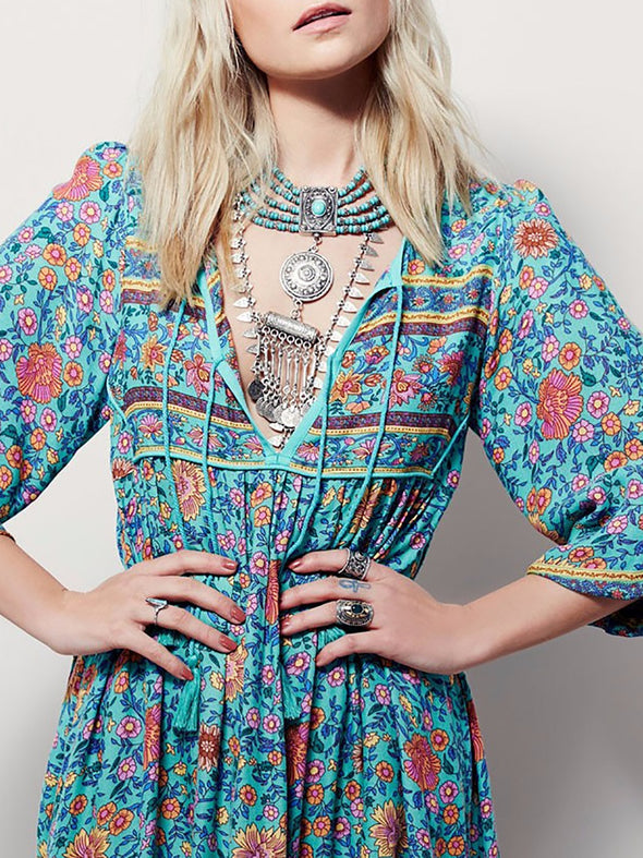 Blue 3/4 Sleeve Floral Dress