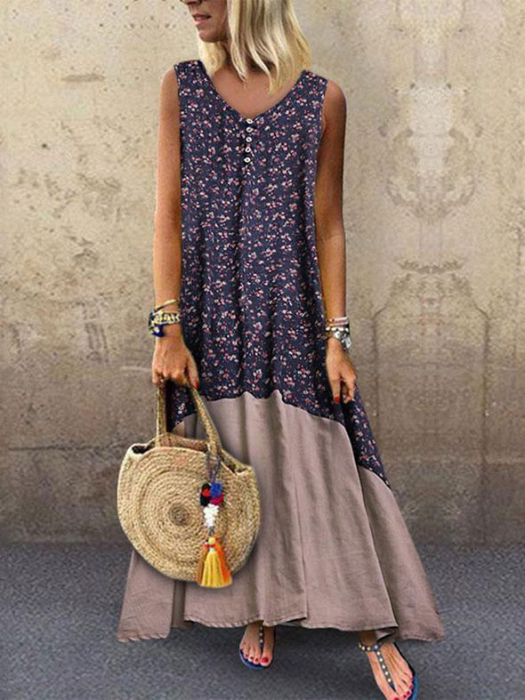 Round Neck Casual Floral Dress