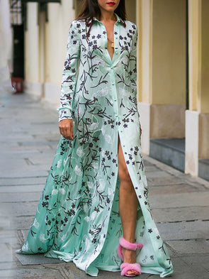 Green Floral Plunging Neck Long Sleeve Dress