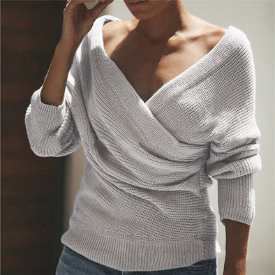 Solid Long Sleeve Casual V neck Sweater