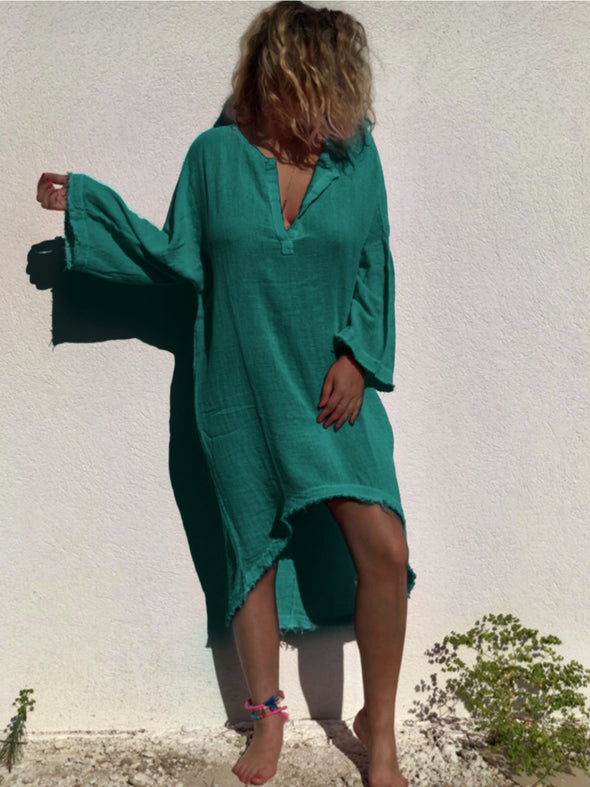 V Neck Solid High Low Long Sleeve Dress