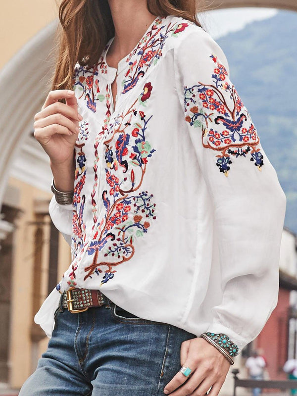 Casual V Neck Long Sleeve Shirt