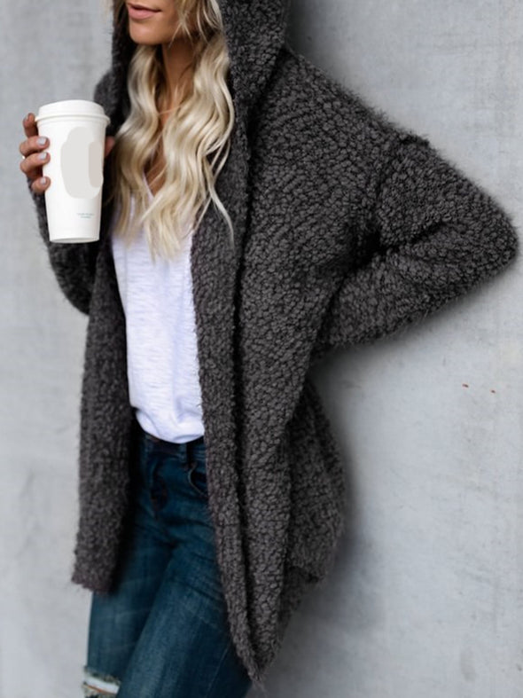 Casual Long Sleeve Solid Shift Outerwear