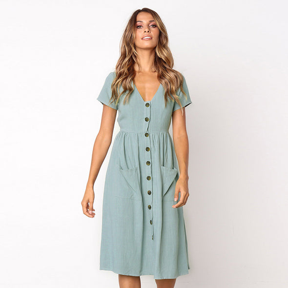 V Neck Simple Pockets Dress