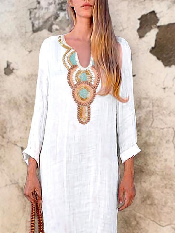 White Cotton-Blend Tribal Printed Long Sleeve Dress