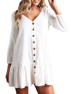 A-Line Cotton Statement Long Sleeve Dress