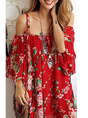 Red Spaghetti-Strap Crew Neck Chiffon Paneled Dress