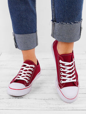 All Season Canvas Round Toe Flat Heel Sneakers