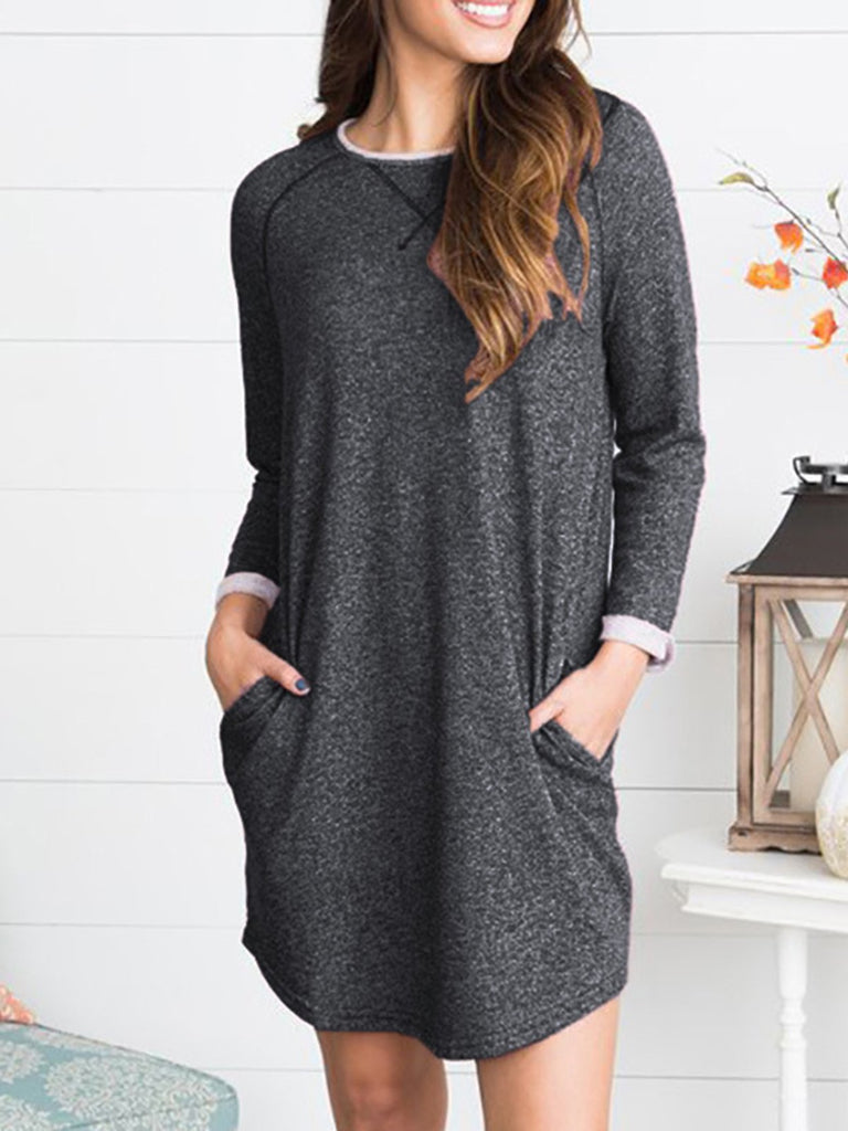 Casual Long Sleeve Crew Neck Dress
