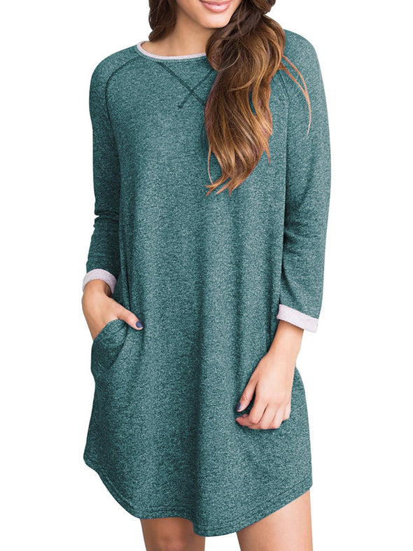Casual A-Line Long Sleeve Crew Neck Dress