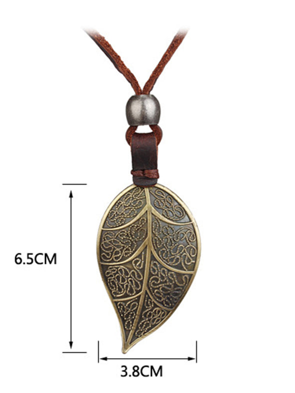 Vintage Leaf Alloy Casual Sweater Necklace