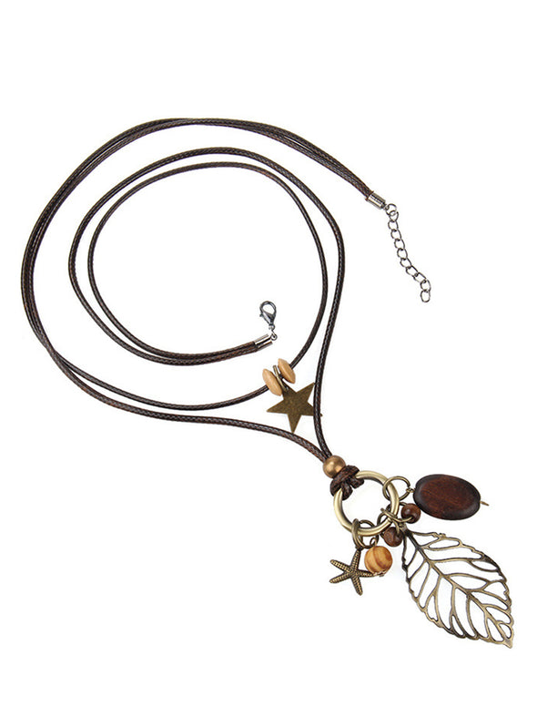Brown Casual Alloy Leaf Accessories
